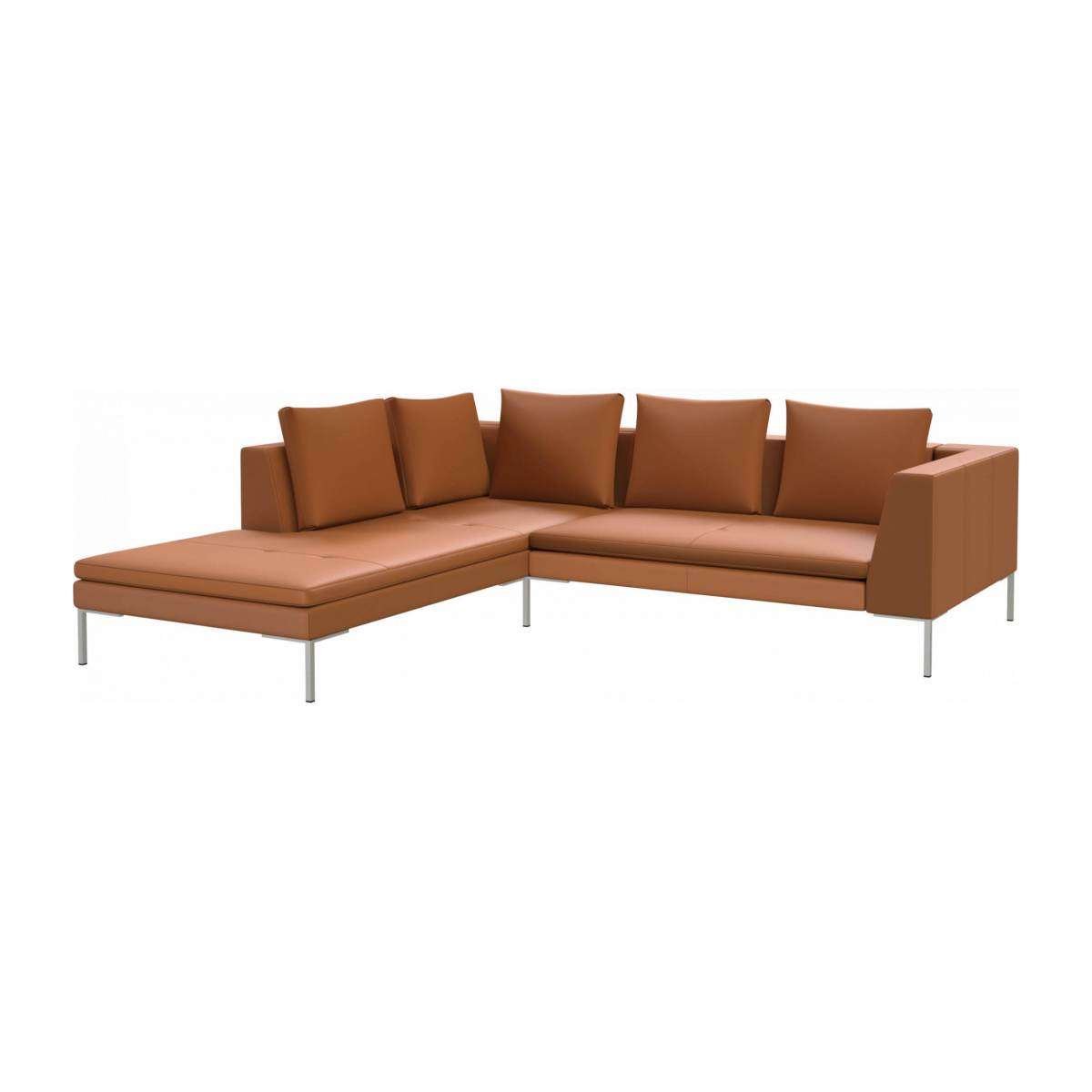 2 seater sofa with chaise longue on the left in Savoy semi-aniline leather, cognac  n°2
