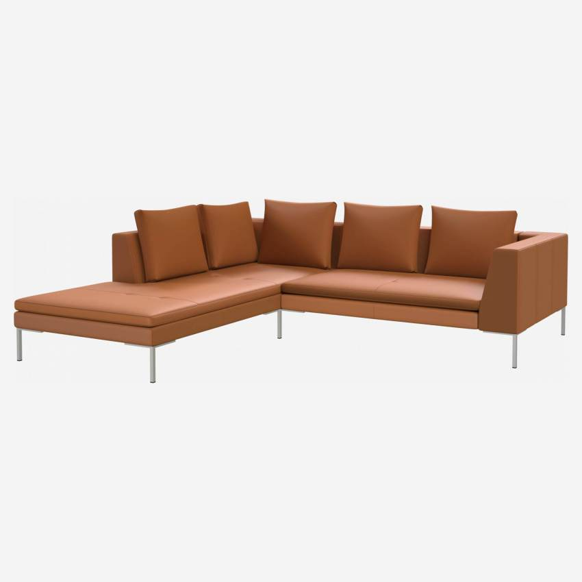 2 seater sofa with chaise longue on the left in Savoy semi-aniline leather, cognac