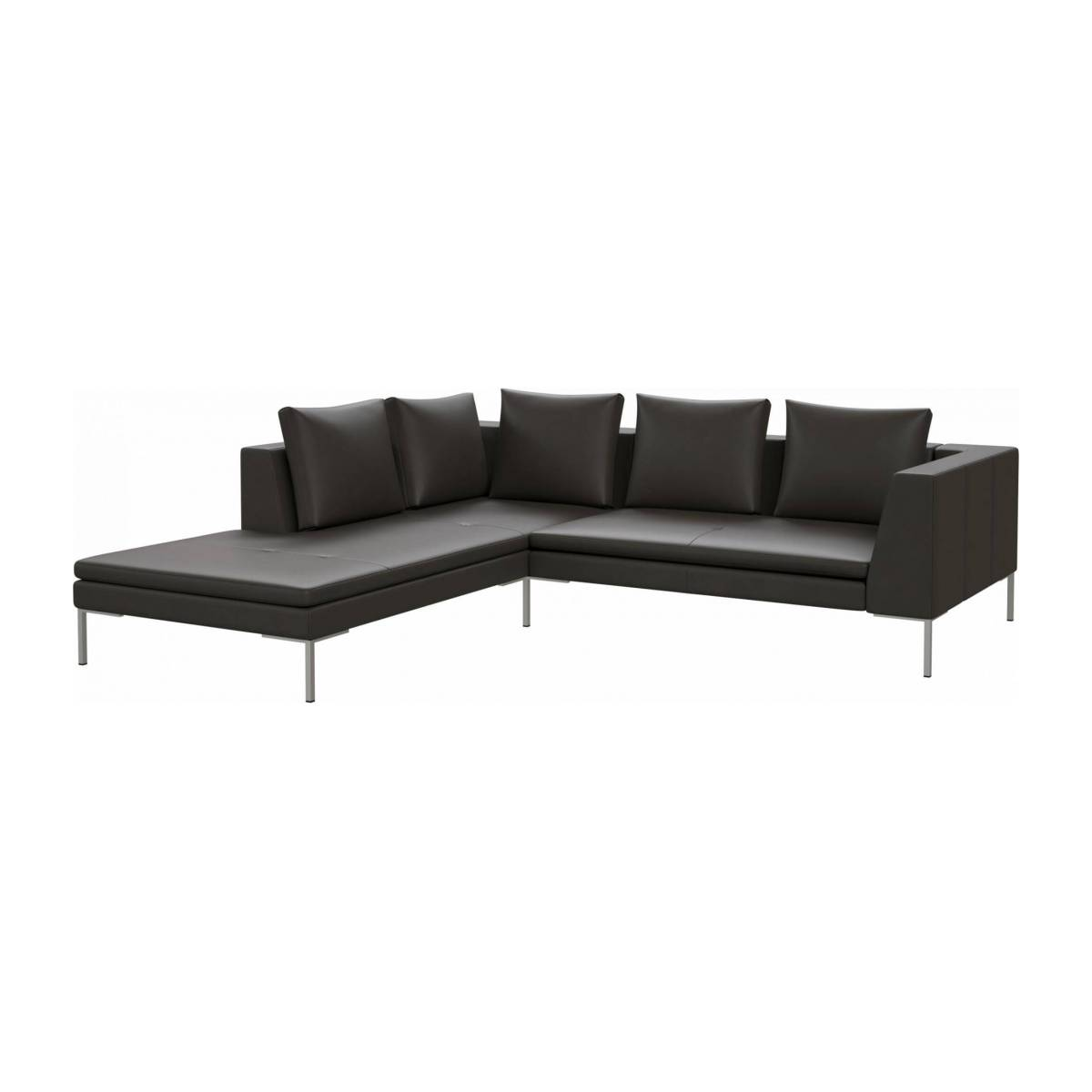 2 seater sofa with chaise longue on the left in Savoy semi-aniline leather, grey  n°2
