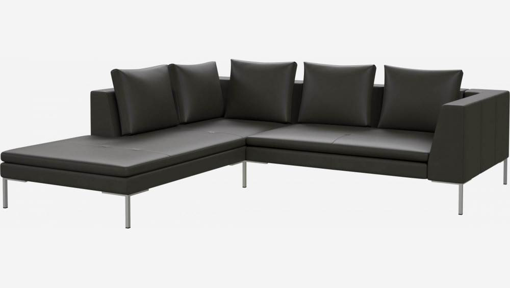 2 seater sofa with chaise longue on the left in Savoy semi-aniline leather, grey