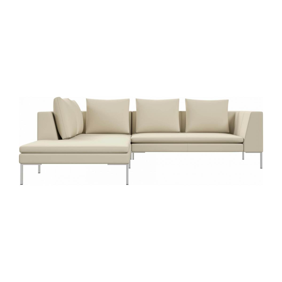 2 seater sofa with chaise longue on the left in Savoy semi-aniline leather, off white  n°1