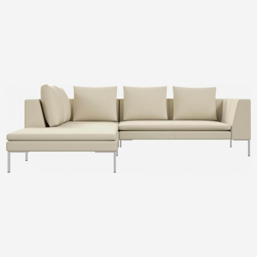 2 seater sofa with chaise longue on the left in Savoy semi-aniline leather, off white