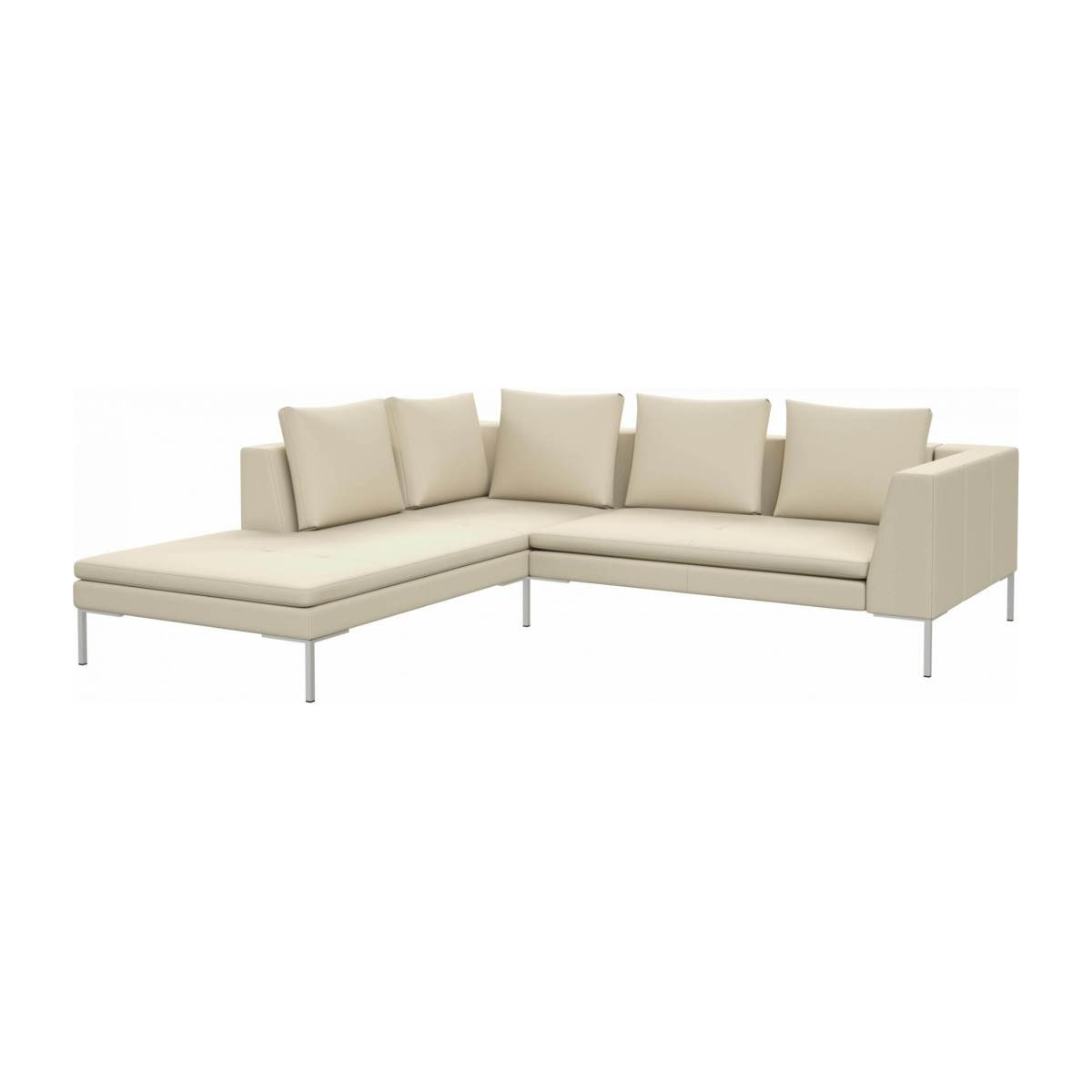 2 seater sofa with chaise longue on the left in Savoy semi-aniline leather, off white  n°2
