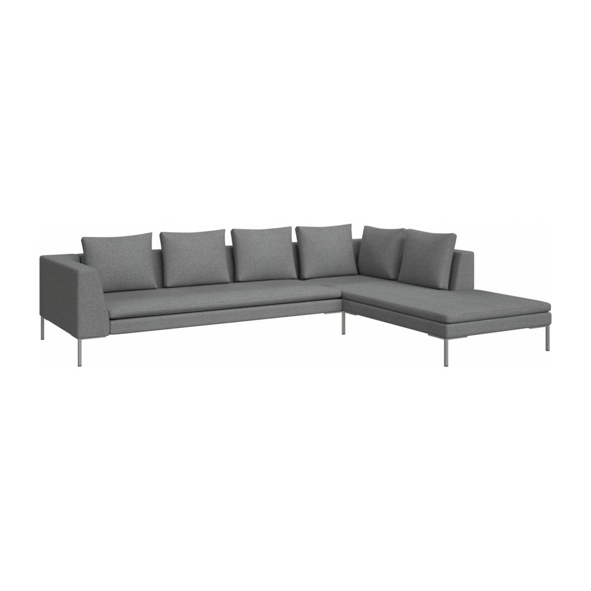 3 seater sofa with chaise longue on the right in Lecce fabric, blue reef  n°2
