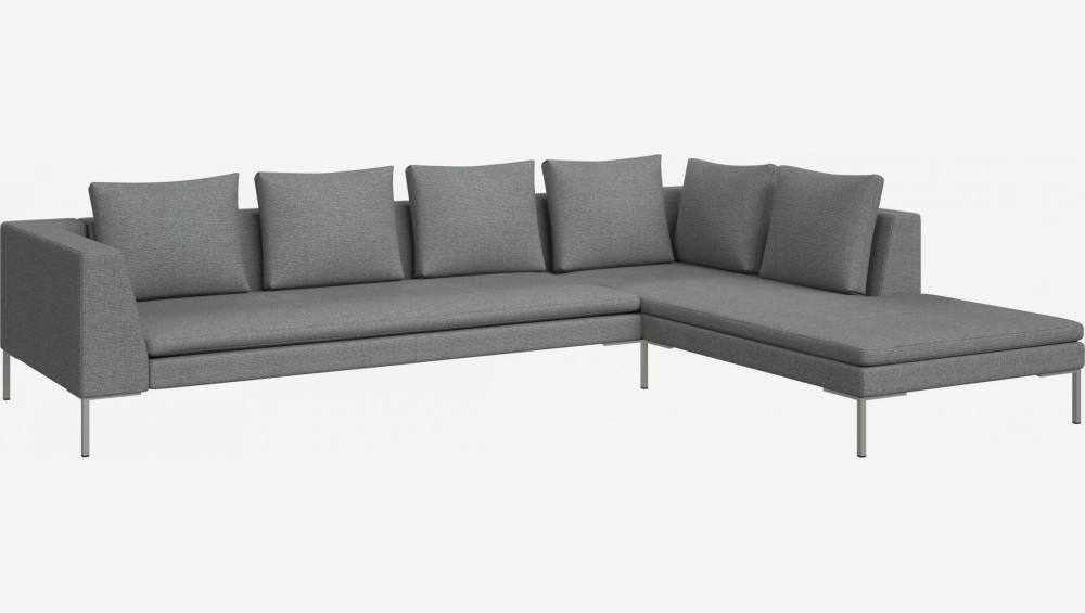 3 seater sofa with chaise longue on the right in Lecce fabric, blue reef