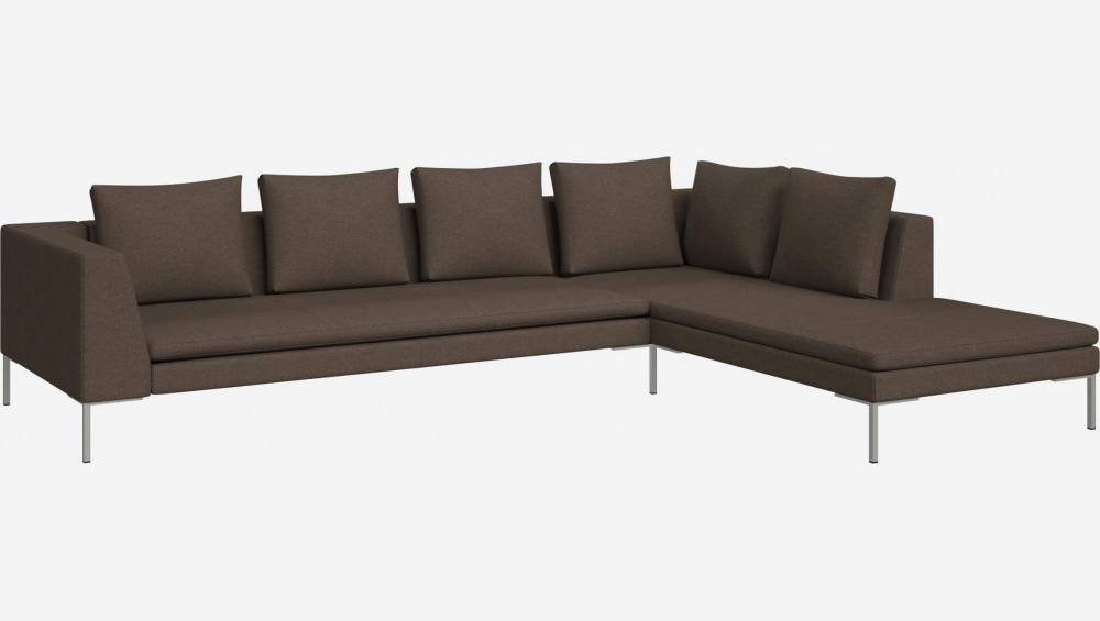 3 seater sofa with chaise longue on the right in Lecce fabric, burned orange