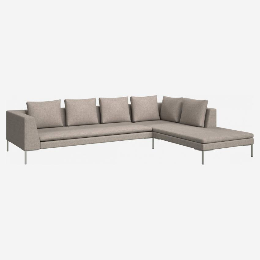 3 seater sofa with chaise longue on the right in Lecce fabric, nature