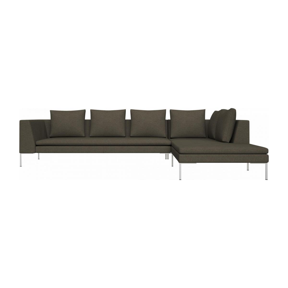 3 seater sofa with chaise longue on the right in Lecce fabric, slade grey  n°1