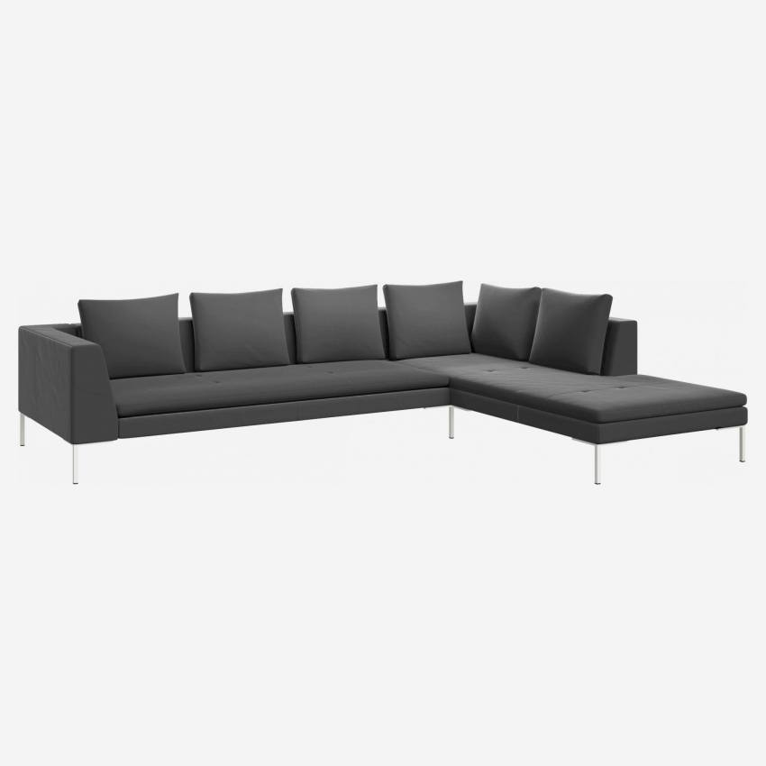 3 seater sofa with chaise longue on the right in Super Velvet fabric, silver grey