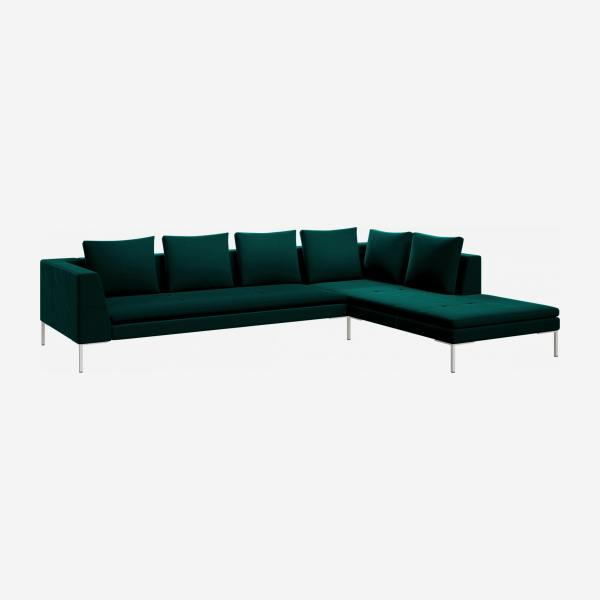 3 seater sofa with chaise longue on the right in Super Velvet fabric, petrol blue