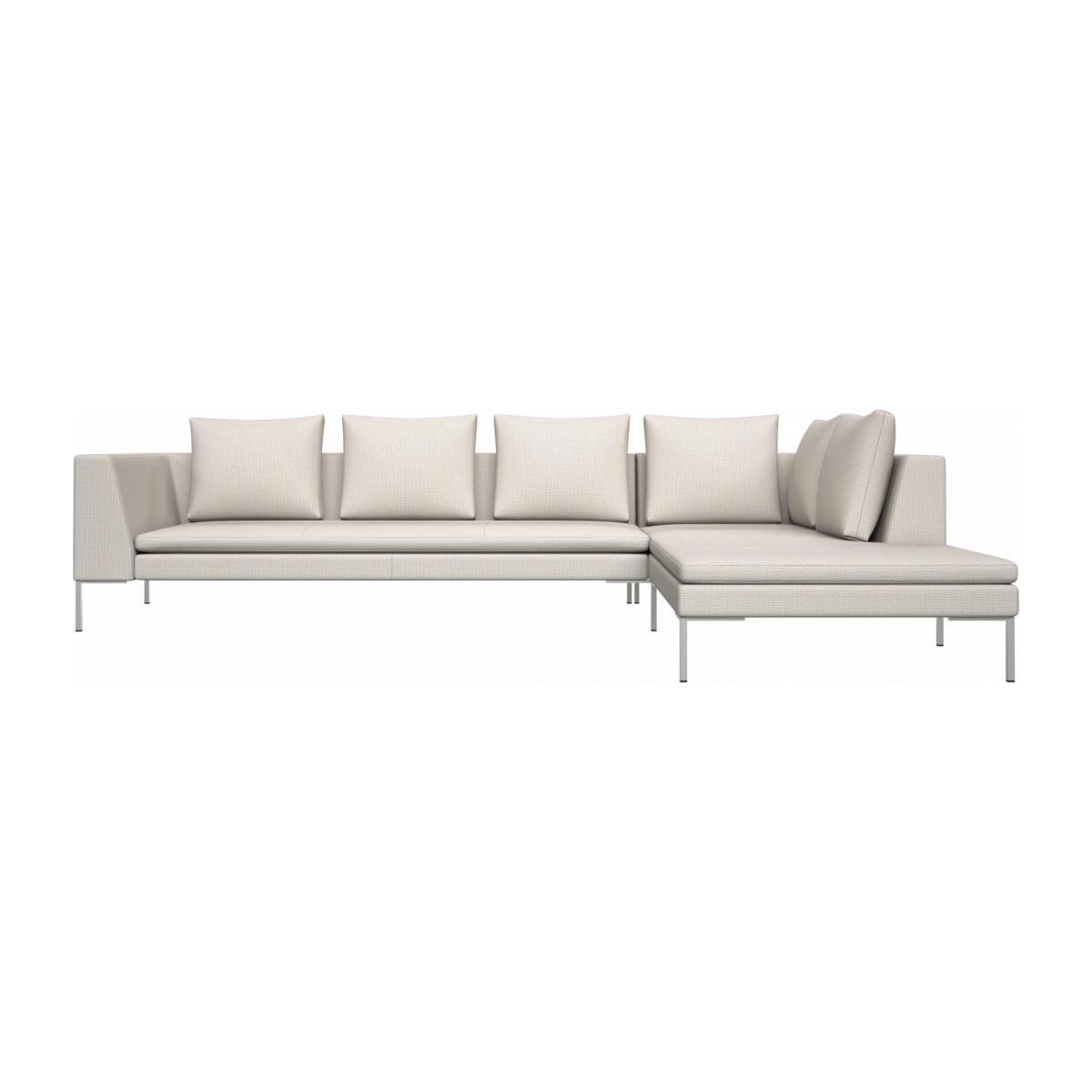 3 seater sofa with chaise longue on the right in Fasoli fabric, snow white  n°1