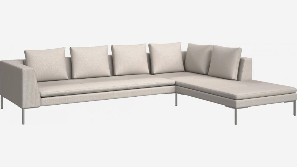 3 seater sofa with chaise longue on the right in Fasoli fabric, snow white
