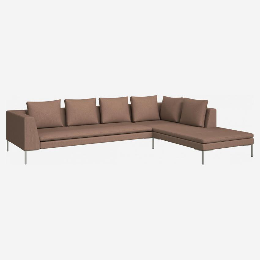 3 seater sofa with chaise longue on the right in Fasoli fabric, jatoba brown