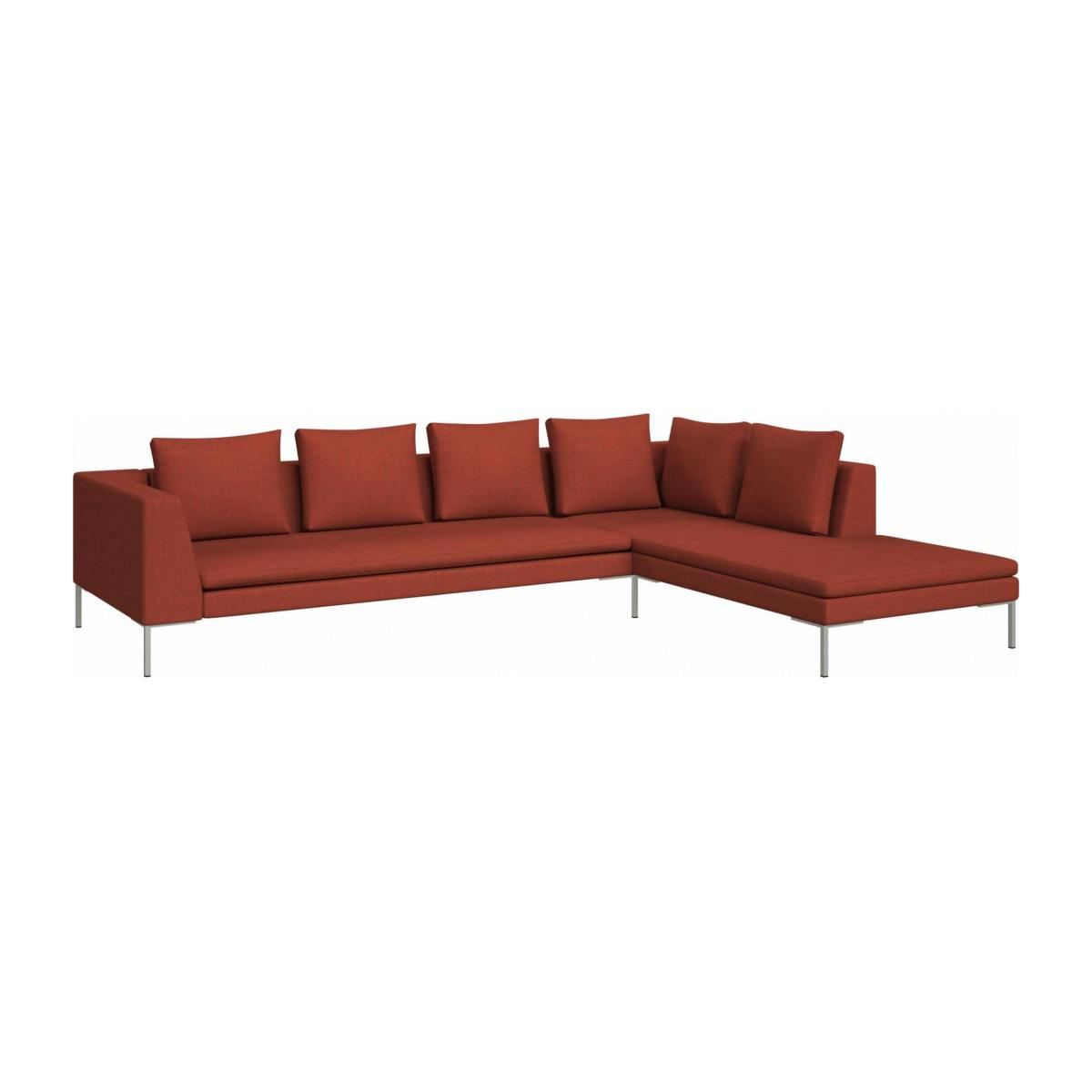 3 seater sofa with chaise longue on the right in Fasoli fabric, warm red rock  n°2