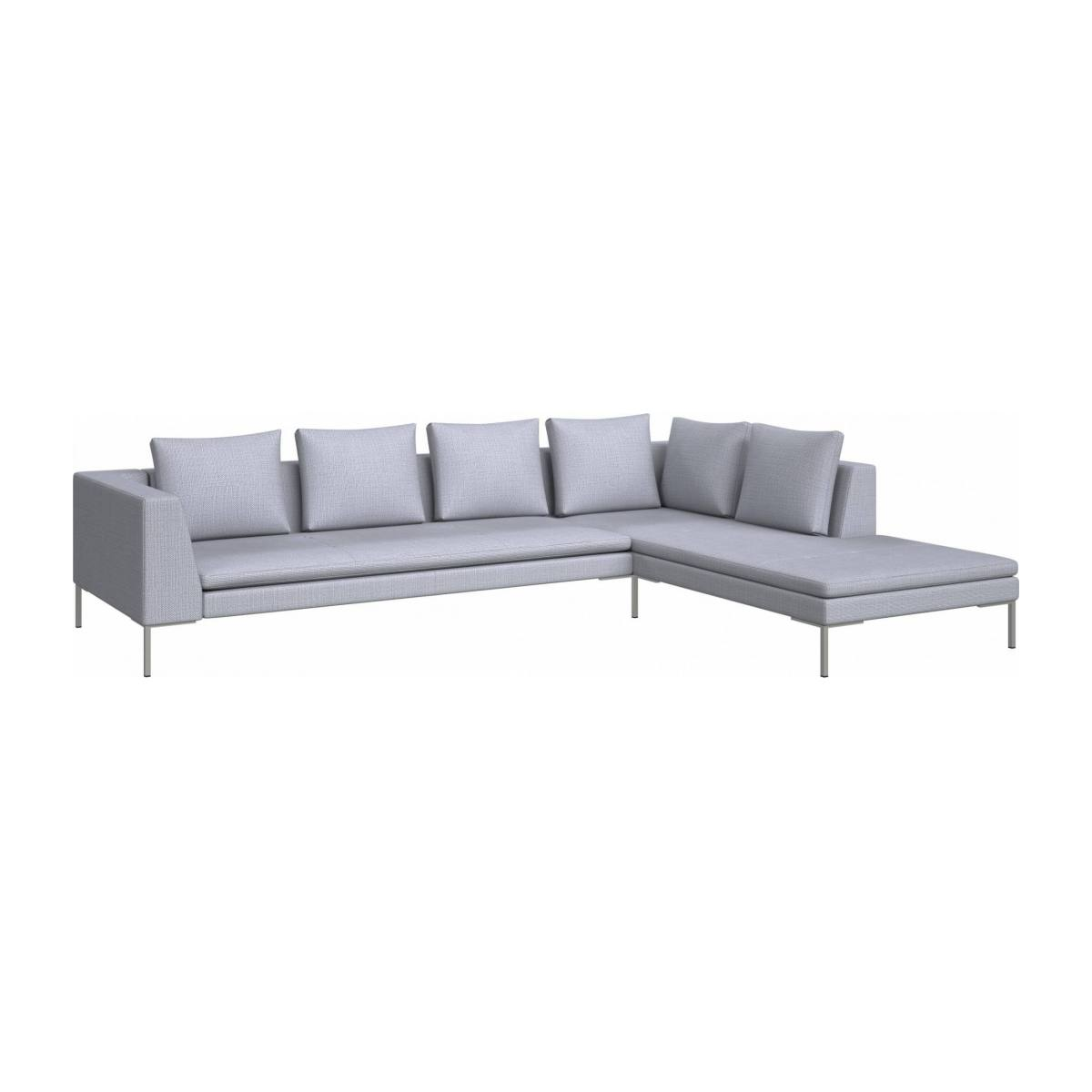 3 seater sofa with chaise longue on the right in Fasoli fabric, grey sky  n°2
