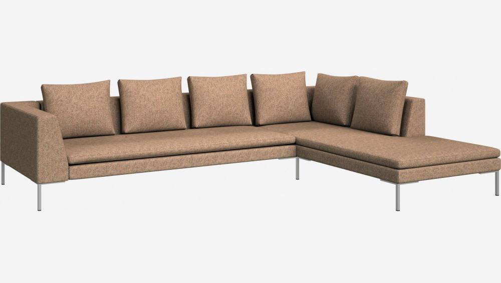 3 seater sofa with chaise longue on the right in Bellagio fabric, passion orange