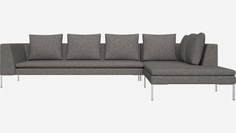 3 seater sofa with chaise longue on the right in Bellagio fabric, night black