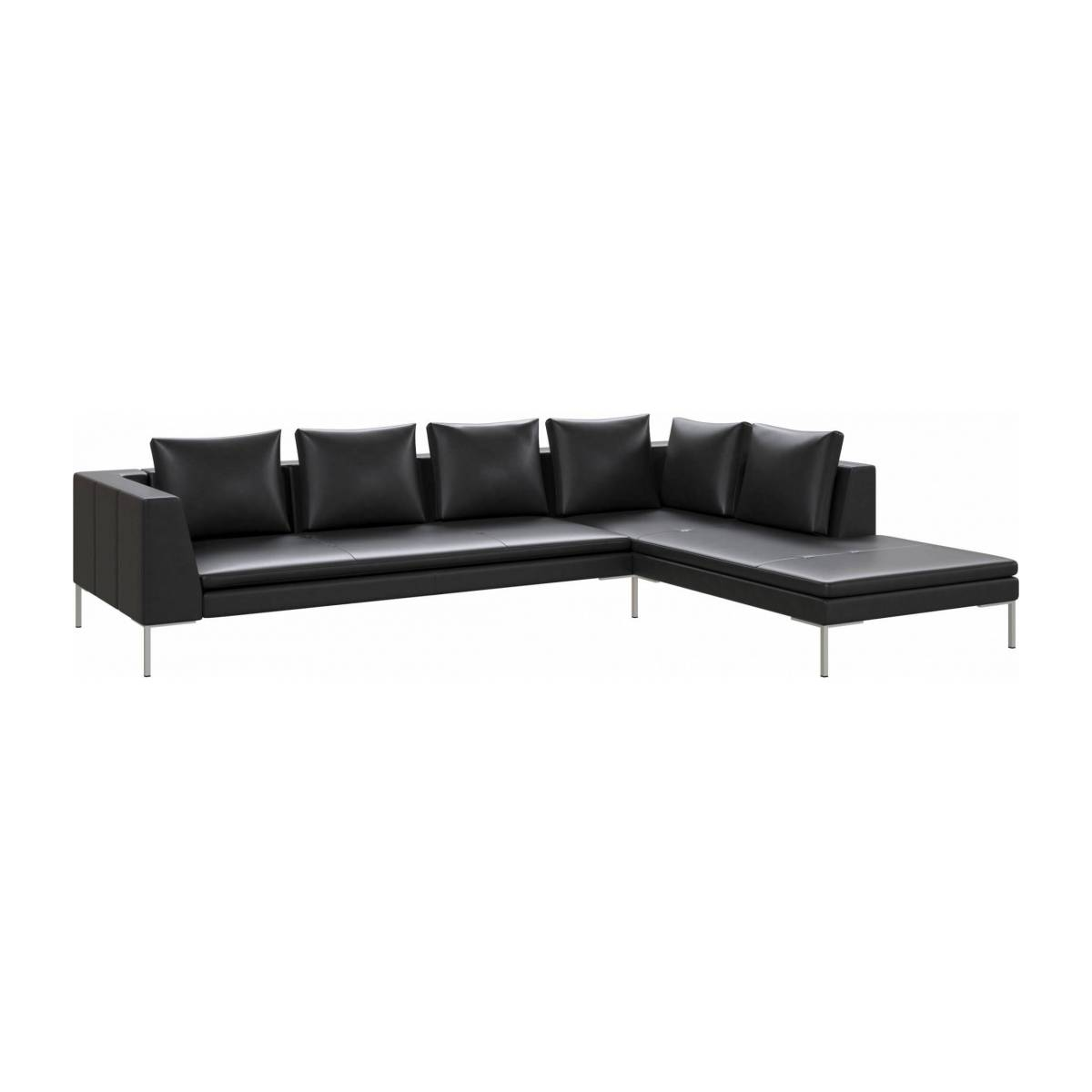 3 seater sofa with chaise longue on the right in Savoy semi-aniline leather, platin black  n°2