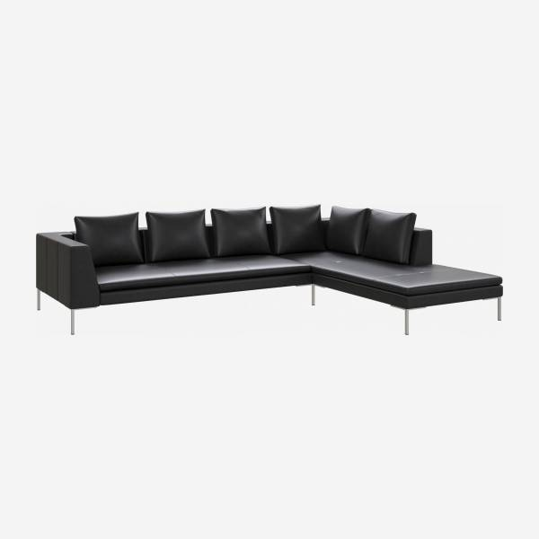 3 seater sofa with chaise longue on the right in Savoy semi-aniline leather, platin black