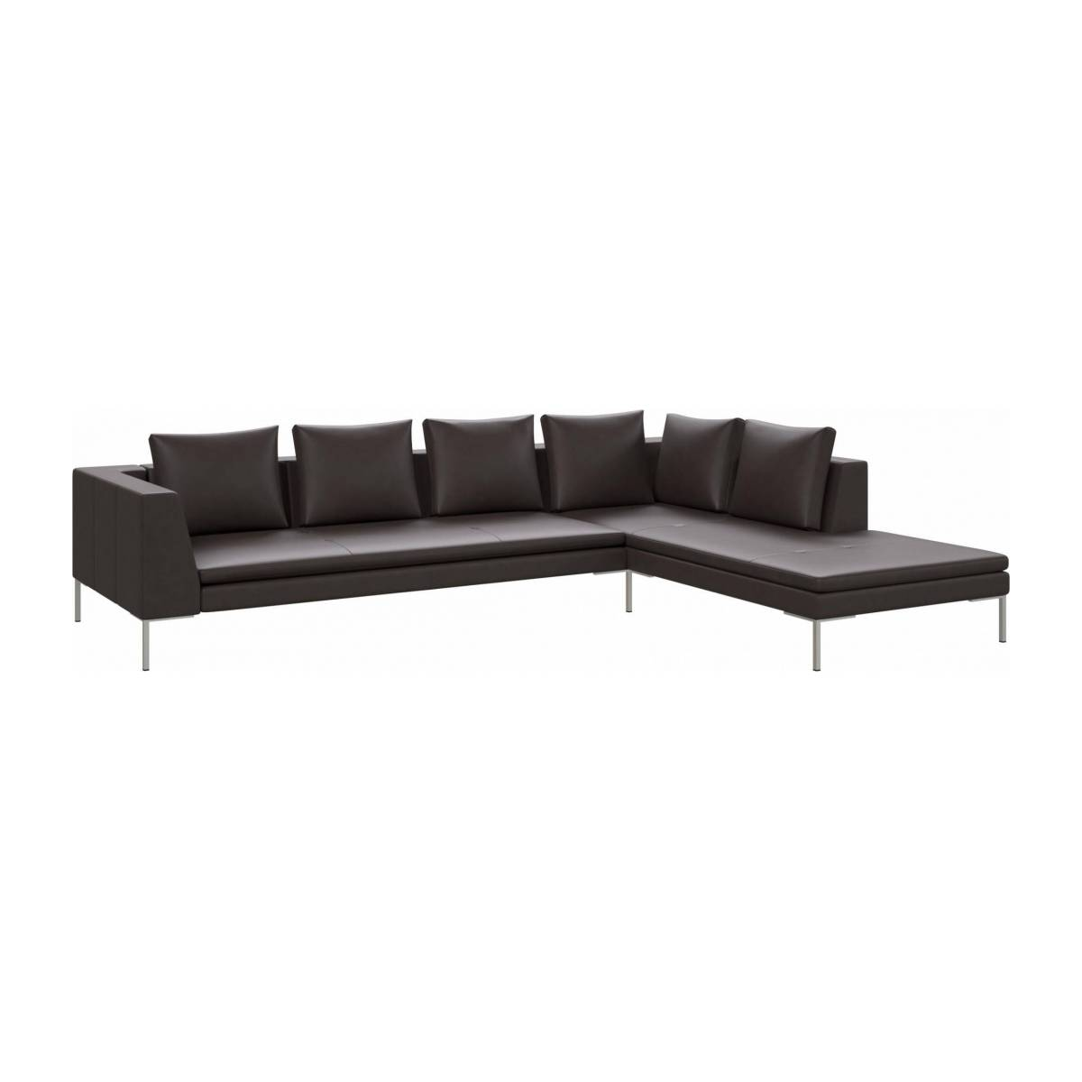3 seater sofa with chaise longue on the right in Savoy semi-aniline leather, dark brown amaretto  n°2