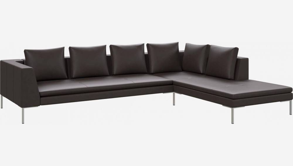 3 seater sofa with chaise longue on the right in Savoy semi-aniline leather, dark brown amaretto