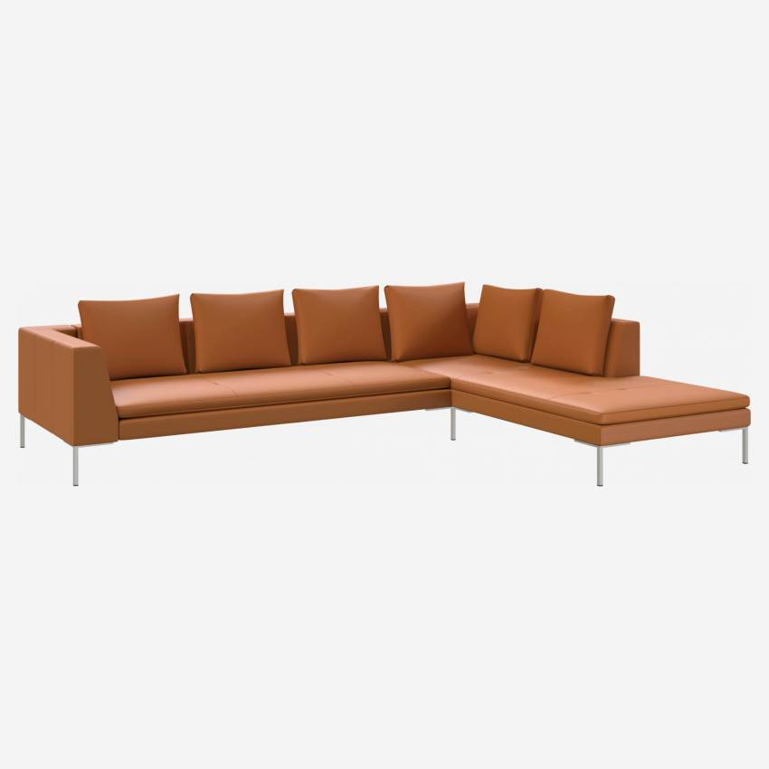 3 seater sofa with chaise longue on the right in Savoy semi-aniline leather, cognac