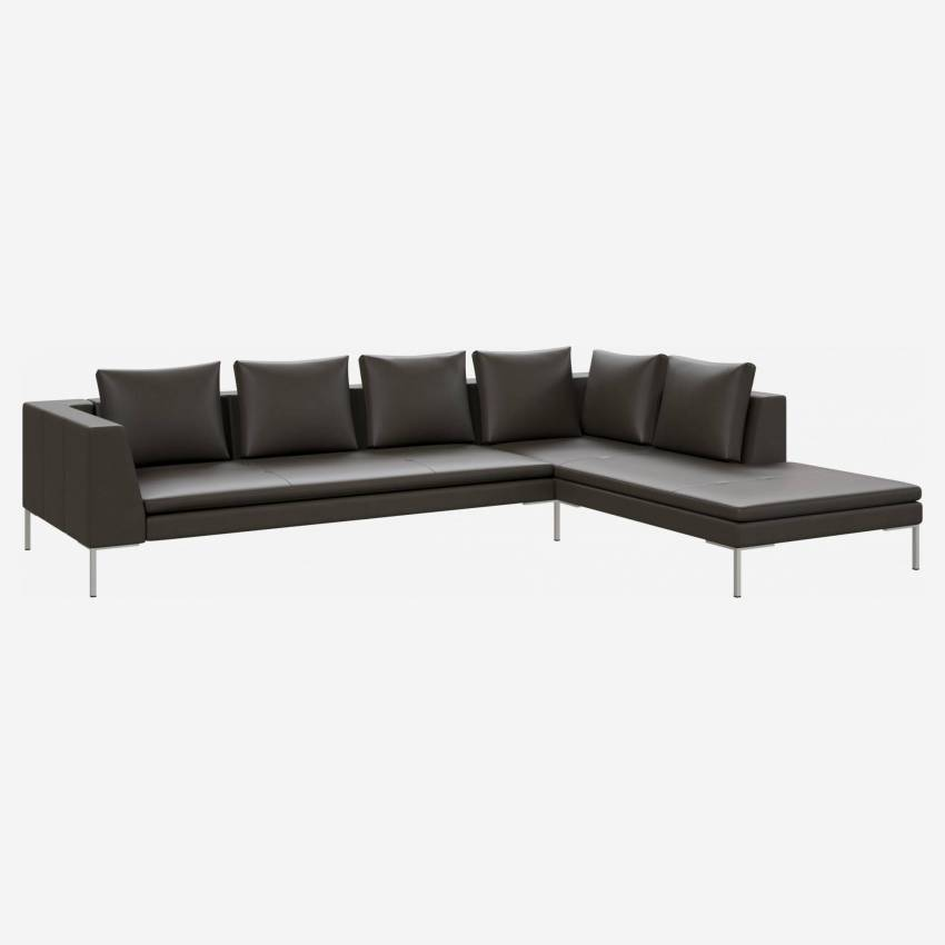 3 seater sofa with chaise longue on the right in Savoy semi-aniline leather, grey