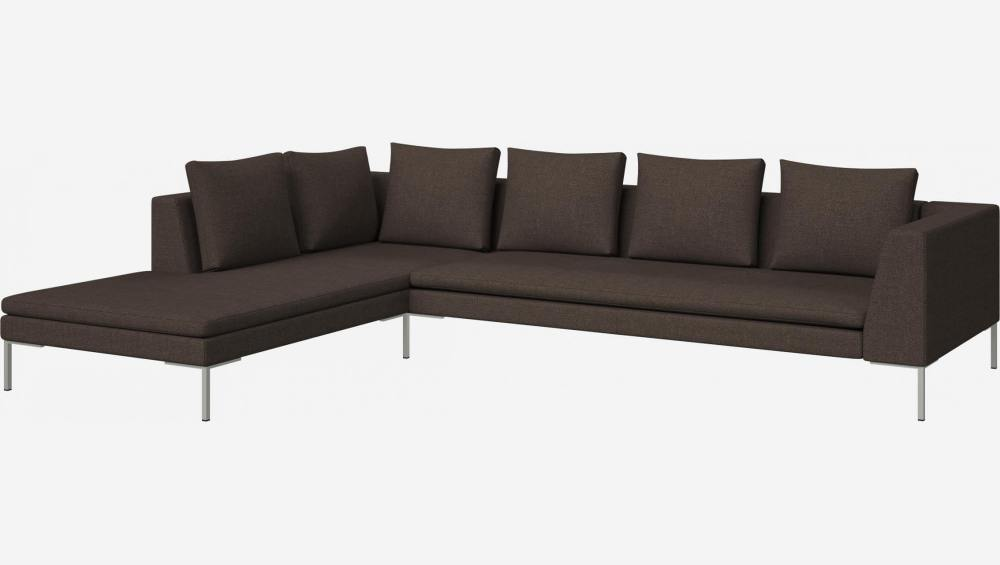 3 seater sofa with chaise longue on the left in Lecce fabric, muscat