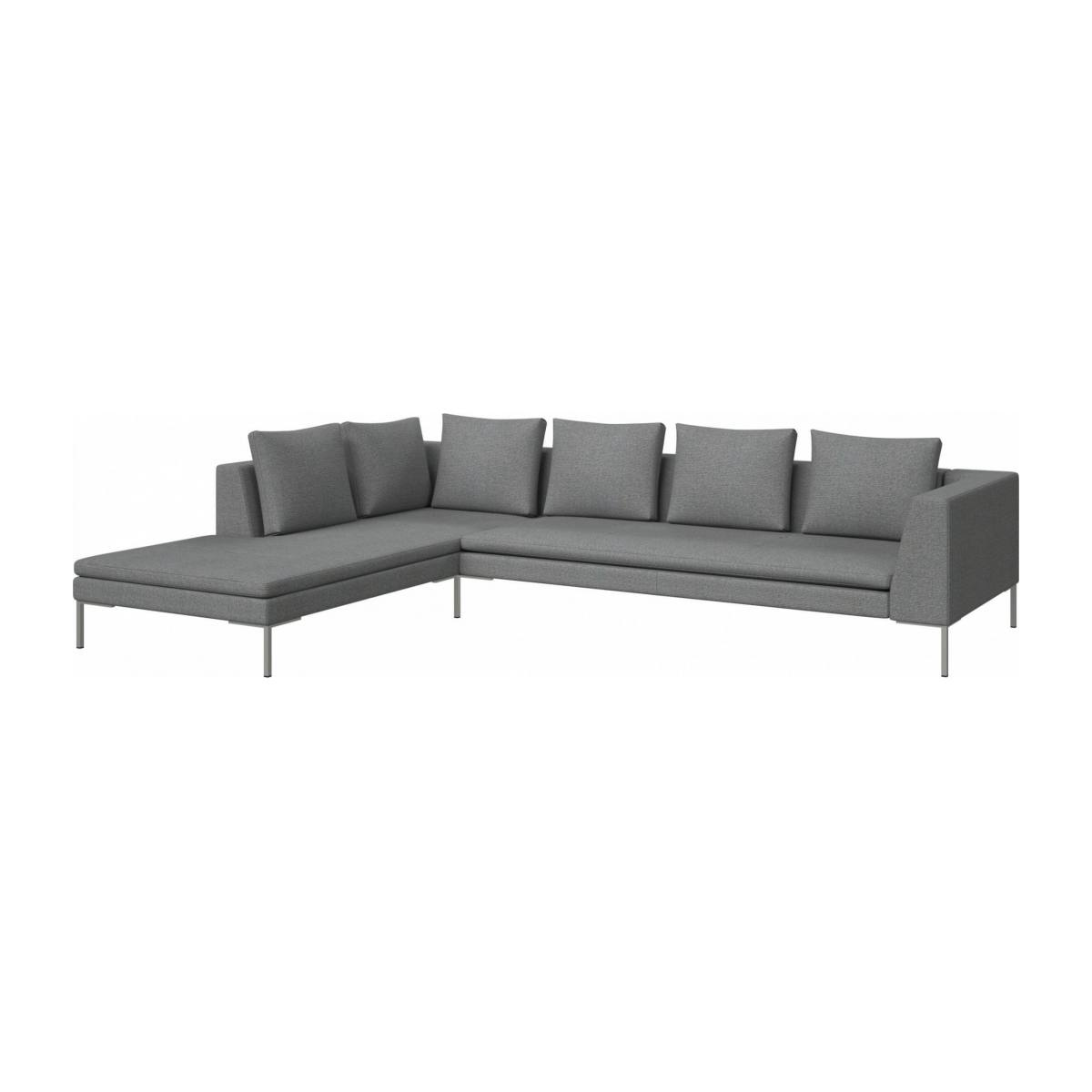 3 seater sofa with chaise longue on the left in Lecce fabric, blue reef  n°2