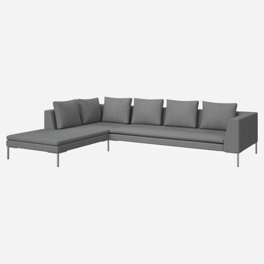 3 seater sofa with chaise longue on the left in Lecce fabric, blue reef