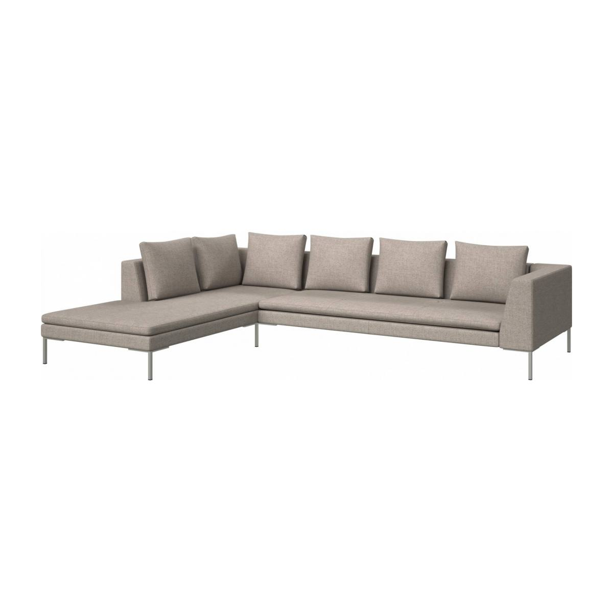 3 seater sofa with chaise longue on the left in Lecce fabric, nature  n°2