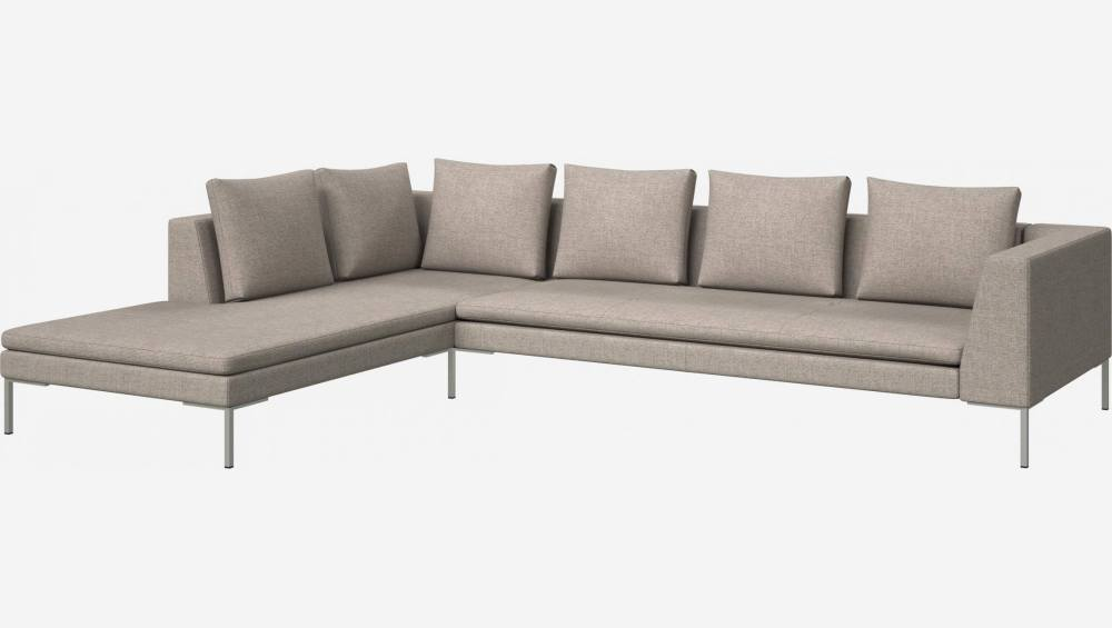 3 seater sofa with chaise longue on the left in Lecce fabric, nature