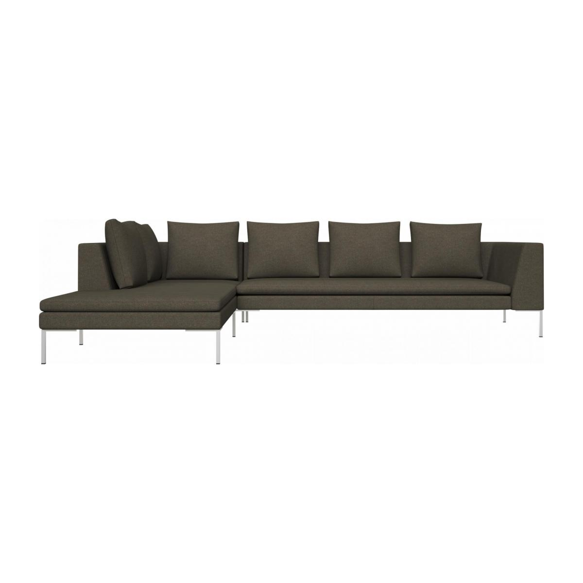 3 seater sofa with chaise longue on the left in Lecce fabric, slade grey  n°1