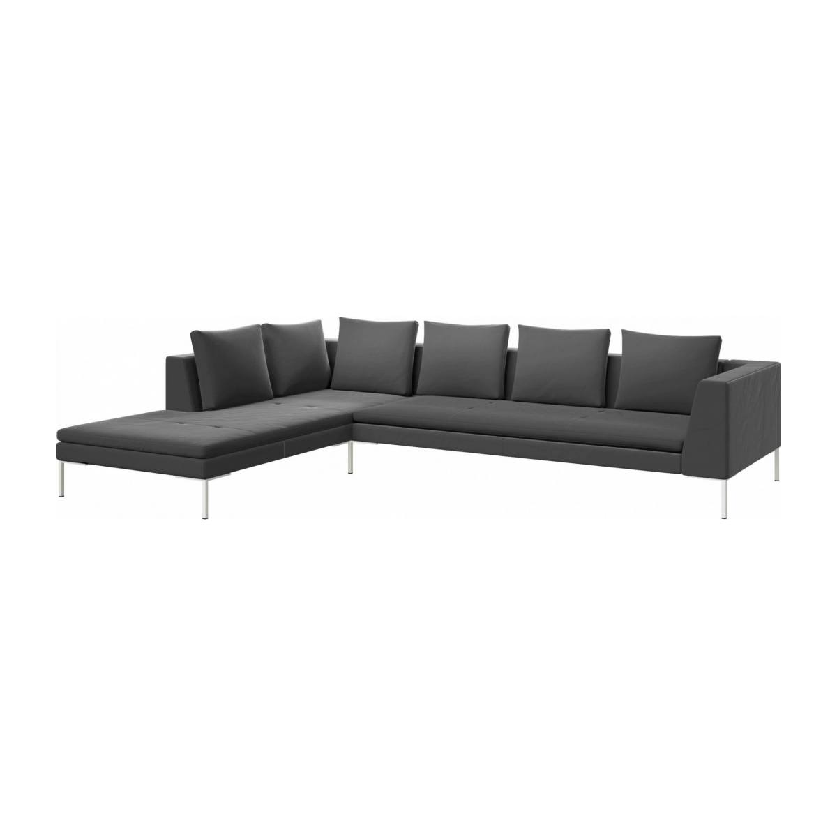 3 seater sofa with chaise longue on the left in Super Velvet fabric, silver grey  n°2