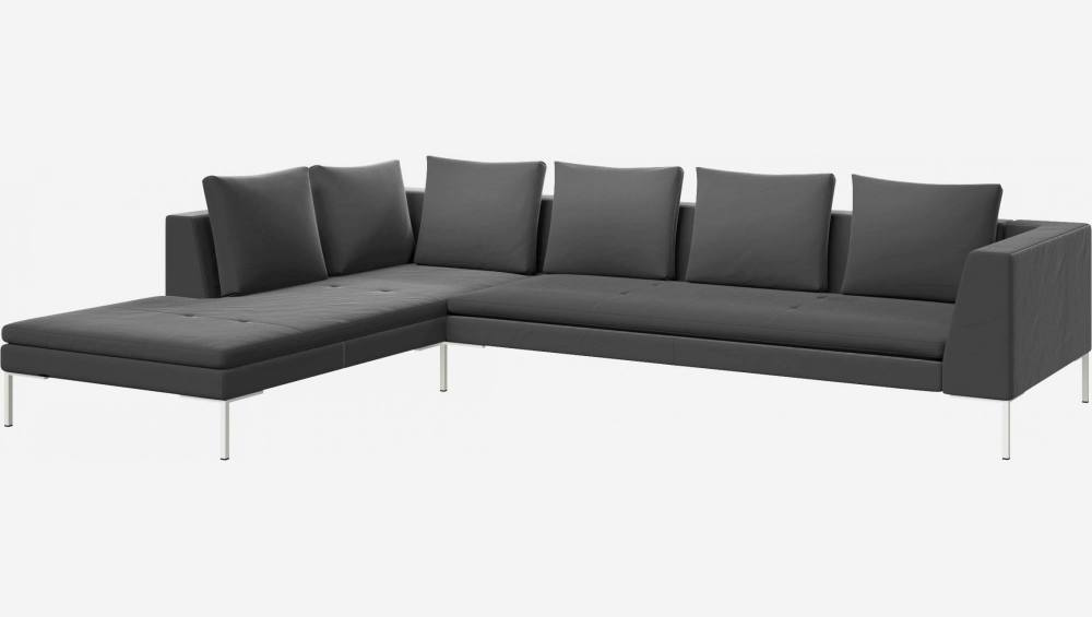 3 seater sofa with chaise longue on the left in Super Velvet fabric, silver grey