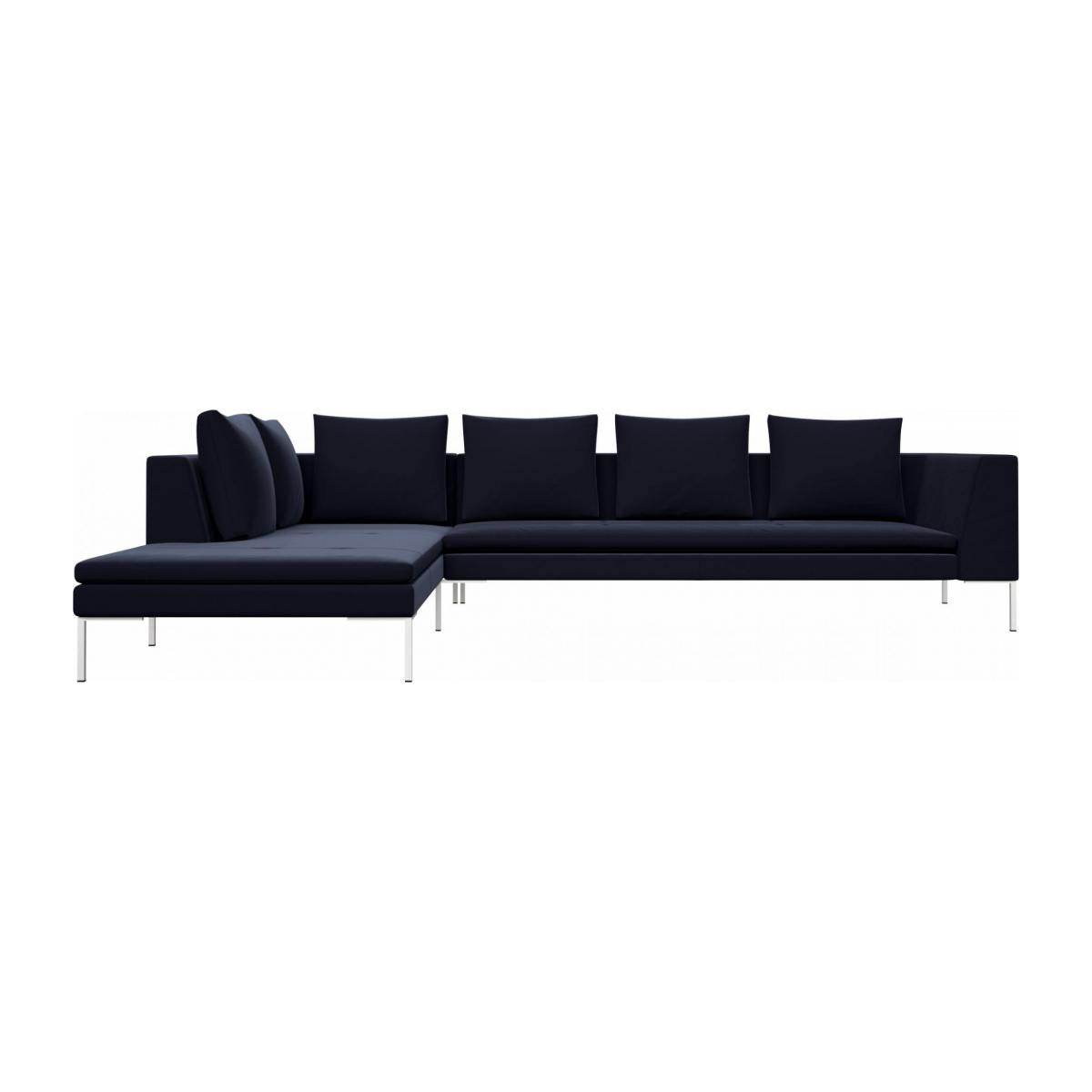 3 seater sofa with chaise longue on the left in Super Velvet fabric, dark blue  n°1
