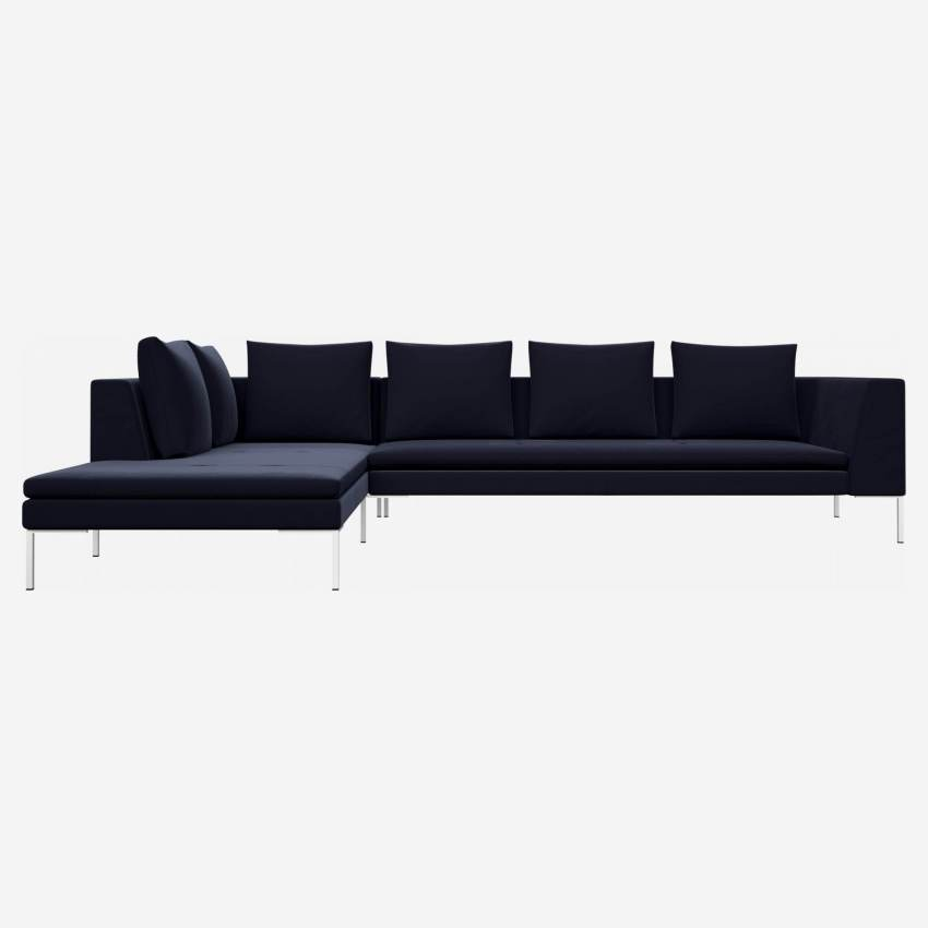 3 seater sofa with chaise longue on the left in Super Velvet fabric, dark blue
