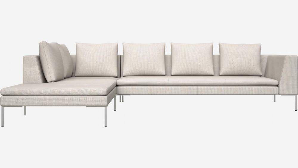 3 seater sofa with chaise longue on the left in Fasoli fabric, snow white