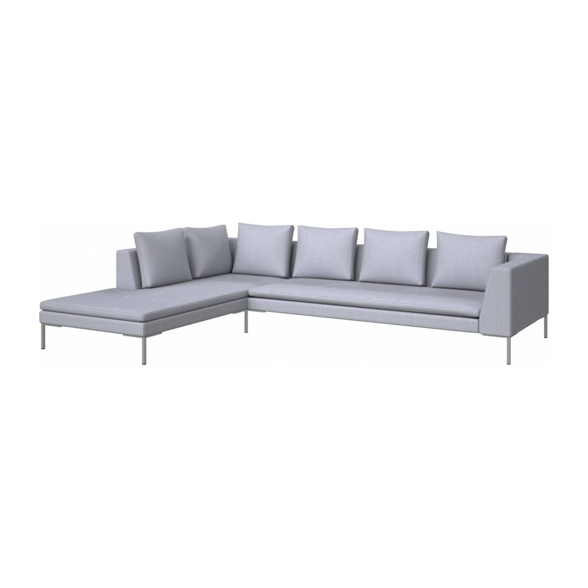 3 seater sofa with chaise longue on the left in Fasoli fabric, grey sky  n°2