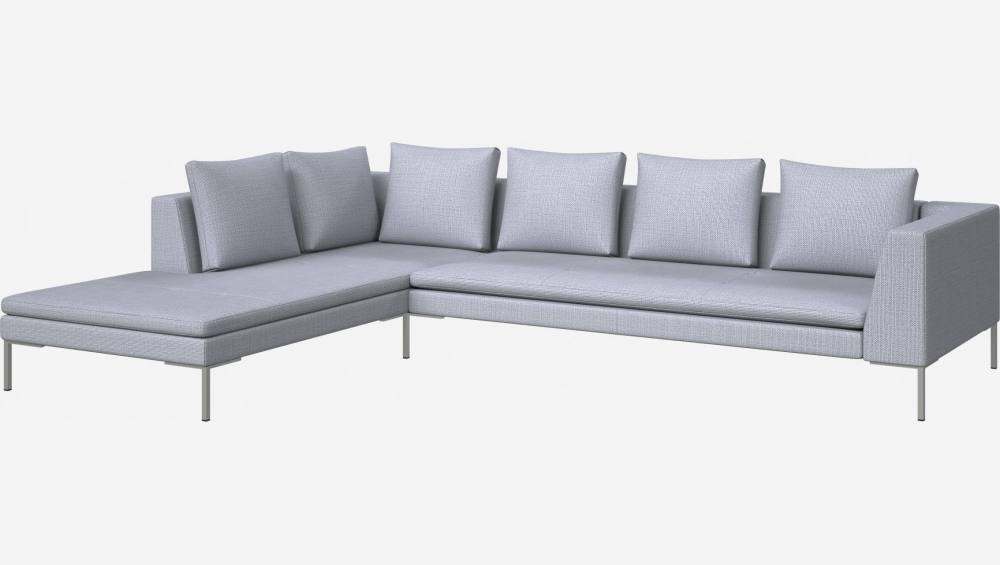 3 seater sofa with chaise longue on the left in Fasoli fabric, grey sky