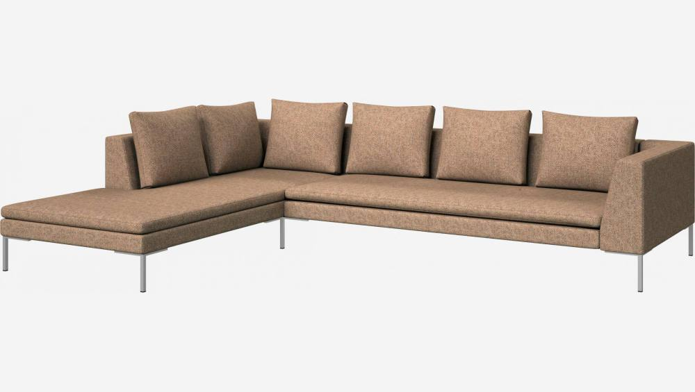 3 seater sofa with chaise longue on the left in Bellagio fabric, passion orange