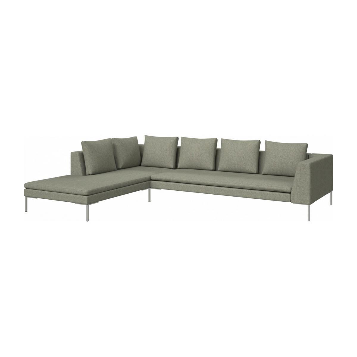 3 seater sofa with chaise longue on the left in Bellagio fabric, organic green  n°2