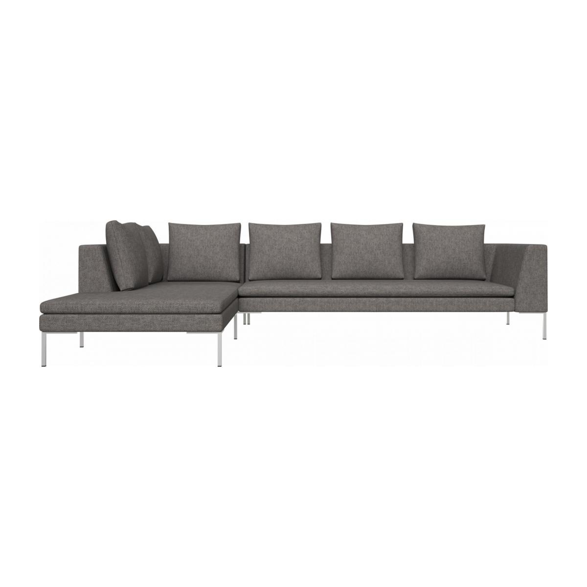 3 seater sofa with chaise longue on the left in Bellagio fabric, night black  n°1