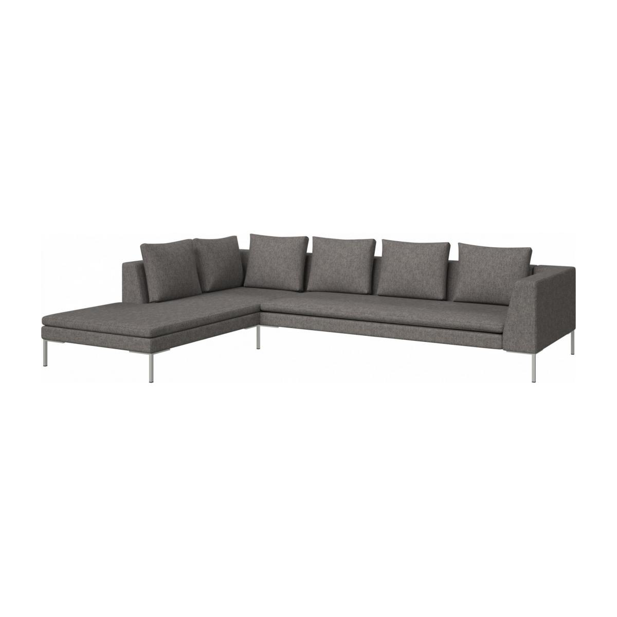 3 seater sofa with chaise longue on the left in Bellagio fabric, night black  n°2