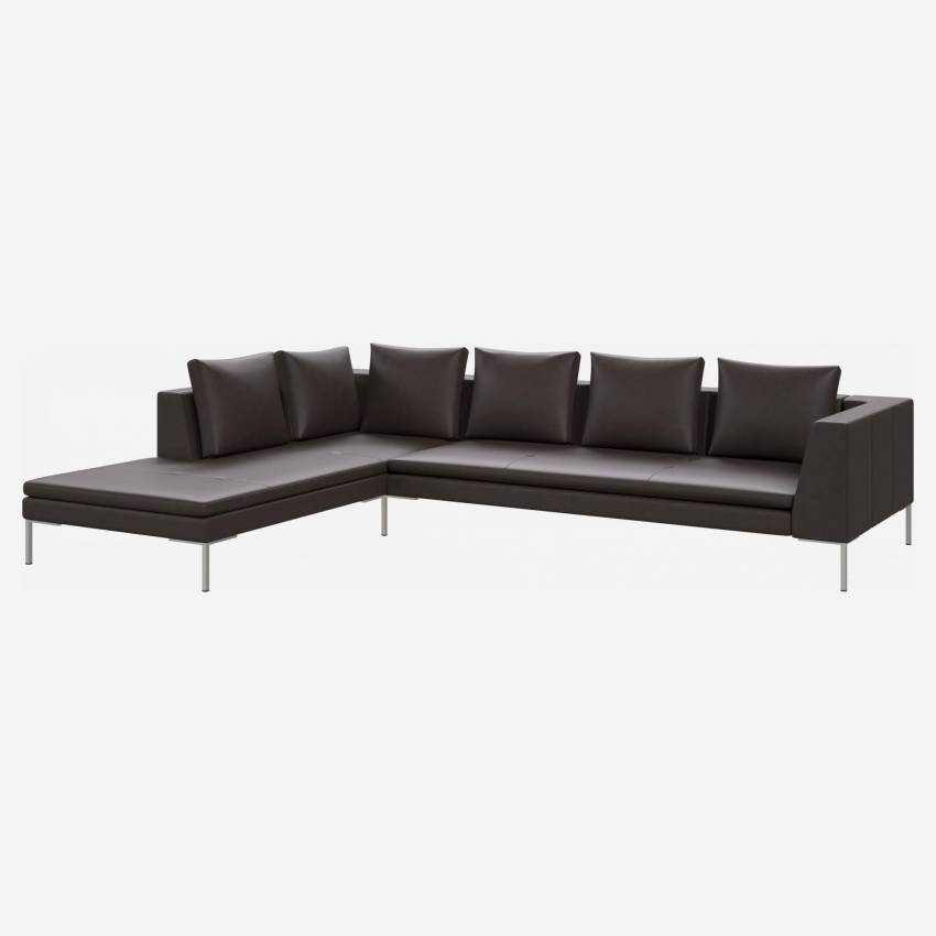 3 seater sofa with chaise longue on the left in Savoy semi-aniline leather, dark brown amaretto