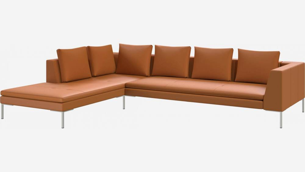 3 seater sofa with chaise longue on the left in Savoy semi-aniline leather, cognac
