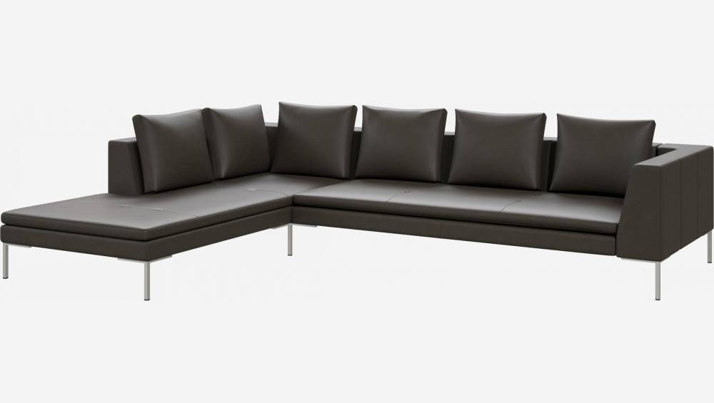 3-Sitzer-Sofa mit Chaiselongue links aus Savoy-Leder - Anthrazit
