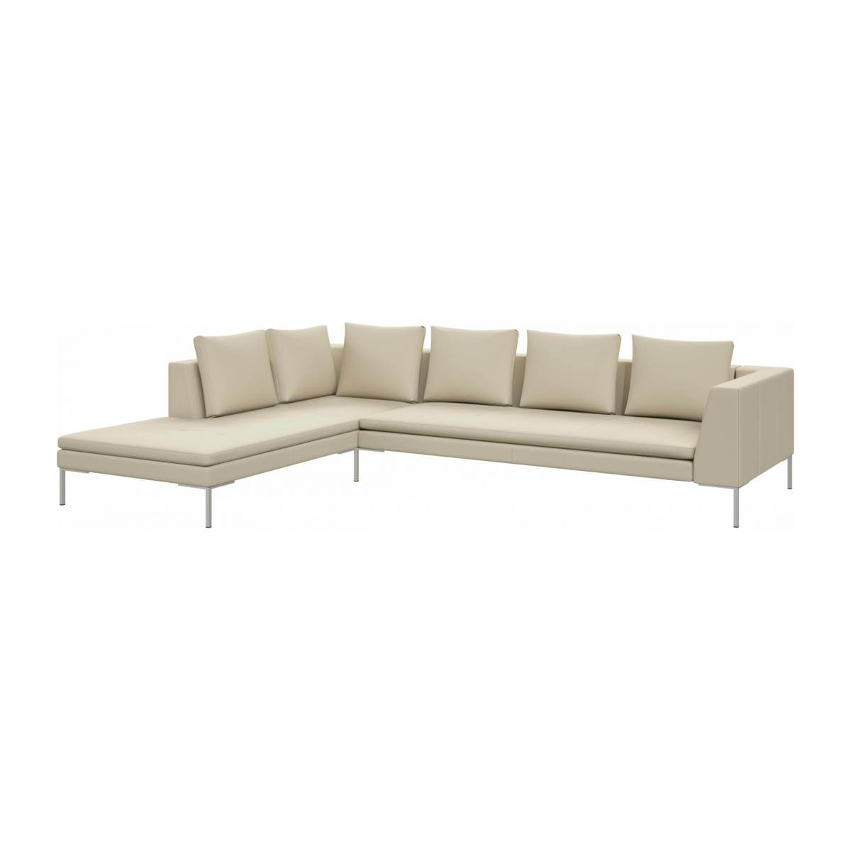 3 seater sofa with chaise longue on the left in Savoy semi-aniline leather, off white  n°2