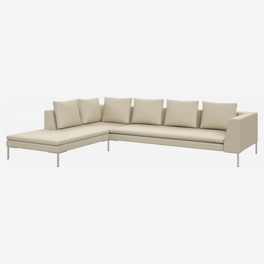 3 seater sofa with chaise longue on the left in Savoy semi-aniline leather, off white