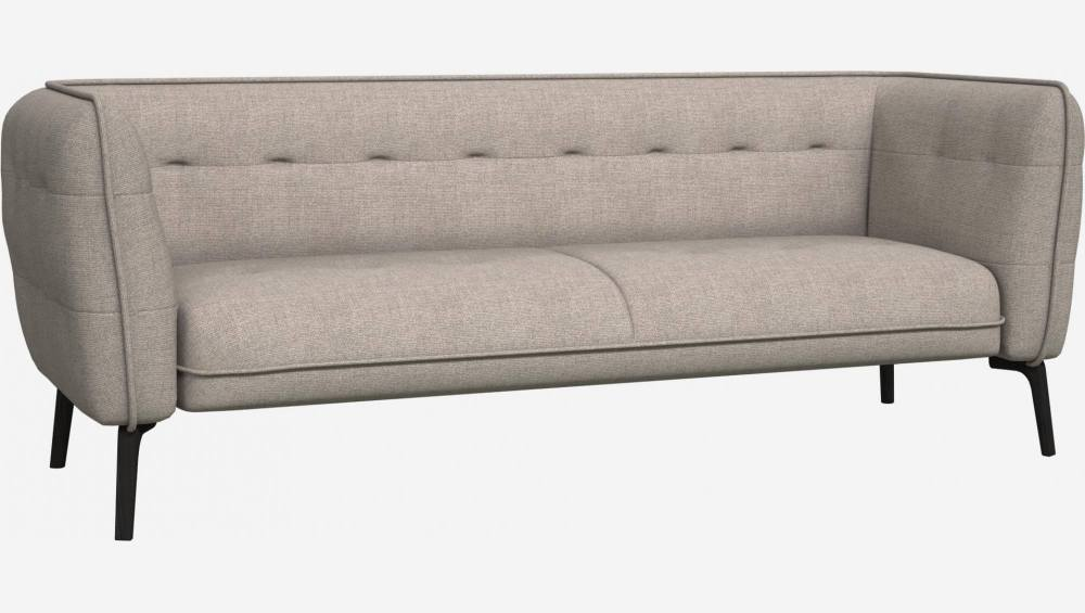 3 seater sofa in Lecce fabric, nature and dark feet